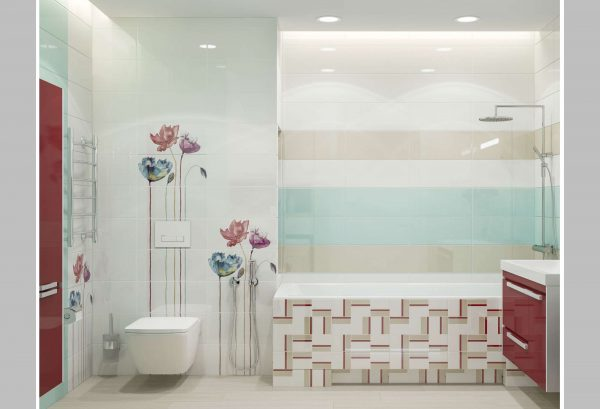 интерьер ванной комнаты с модульной плиткой