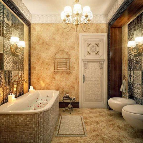интерьер ванной комнаты с плиткой по диагонали на полу