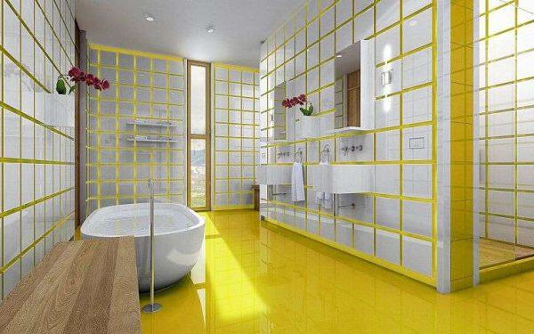 белая плитка с жёлтой затиркой