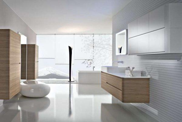 интерьер ванной комнаты в стиле хай тек
