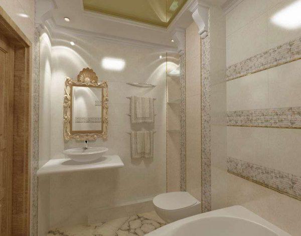 интерьер ванной комнаты в стиле классика с плиткой