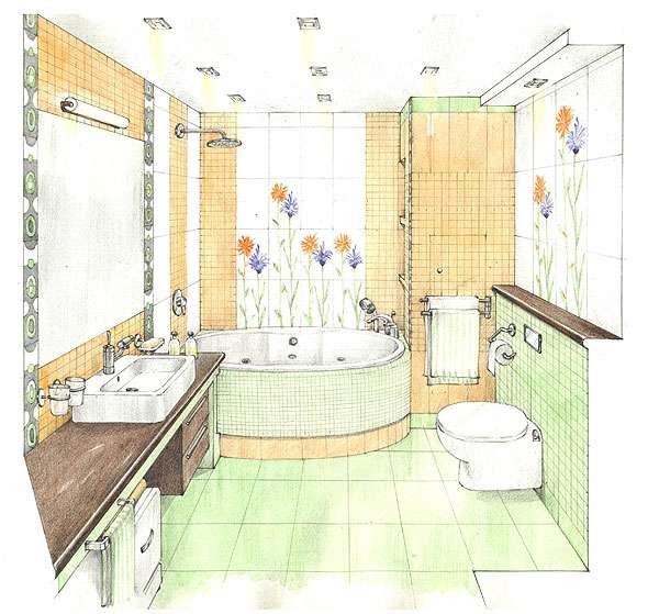 эскиз ремонта ванной комнаты