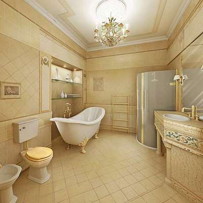 бежевый интерьер ванной комнаты с плиткой