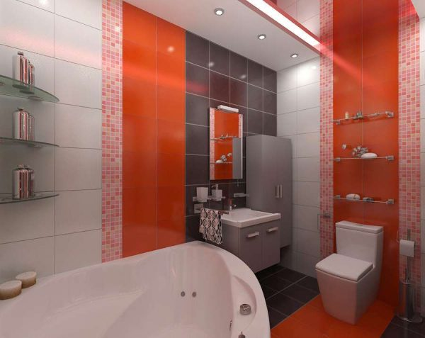 оранжевая плитка в интерьере ванной комнаты