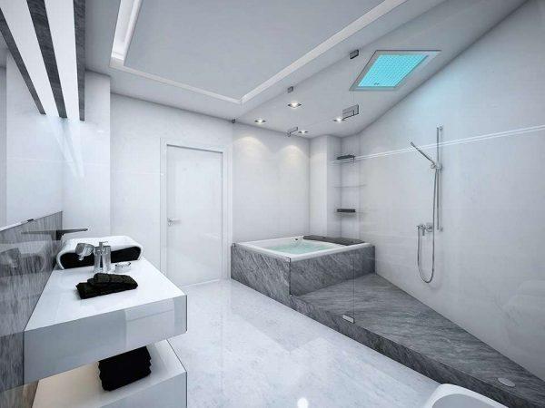 серый интерьер ванной комнаты с плиткой