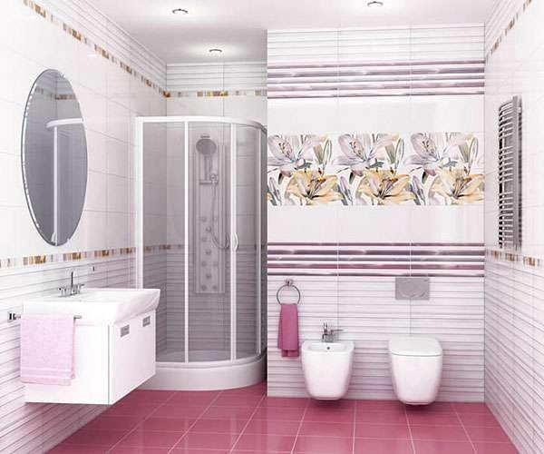 интерьер ванной комнаты с плиткой из одной коллекции
