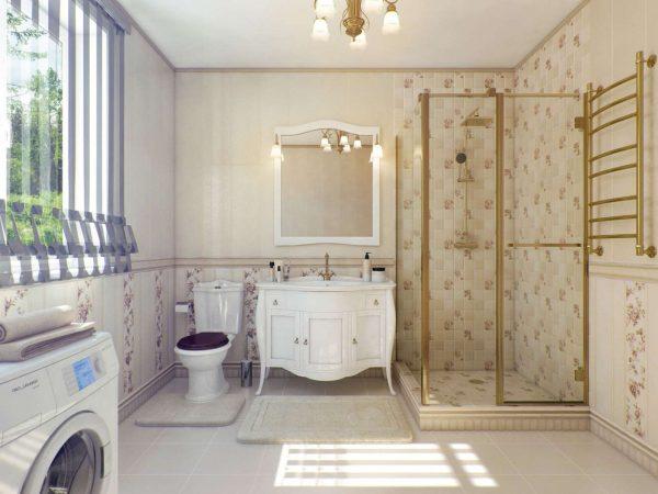 классический стиль в ванной с душевой кабиной