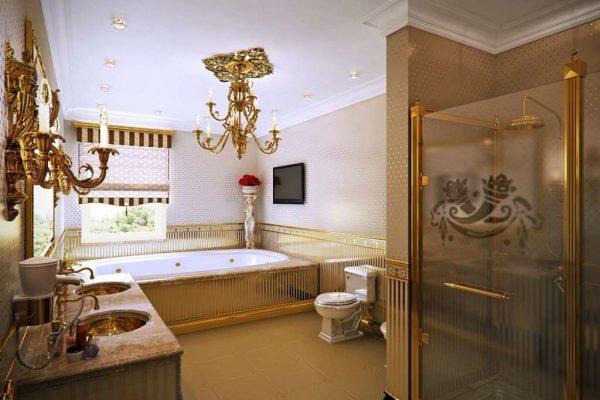 душевая кабина за стеклом в ванной комнате