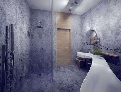 душ за перегородкой в ванной