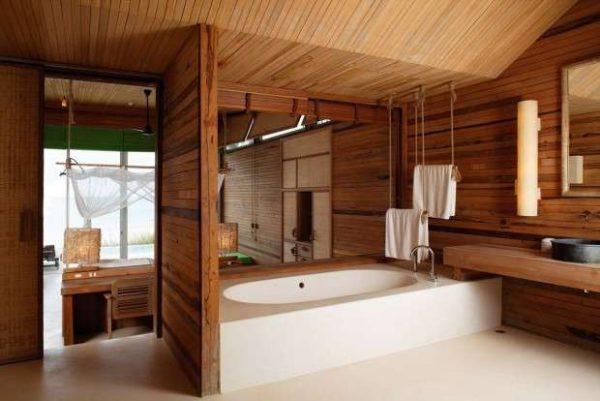 оформление ванной в деревянном доме
