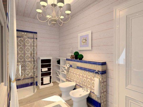 плитка в белой ванной деревянного дома