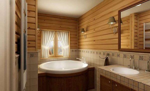 круглая ванна в деревянном доме