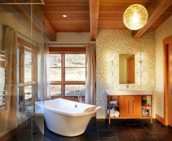 освещение в ванной комнате в деревянном доме