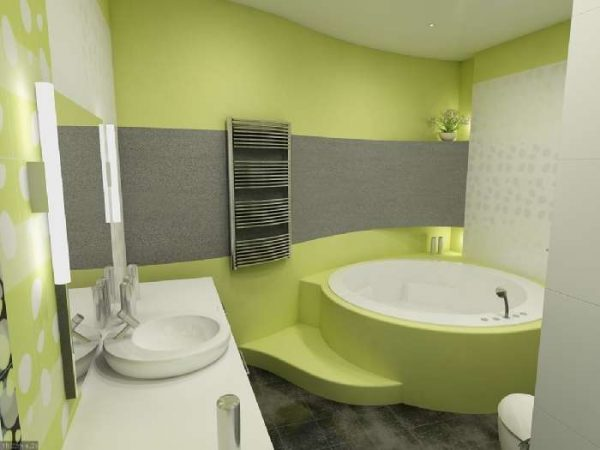 интерьер маленькой ванной с покрашенными стенами