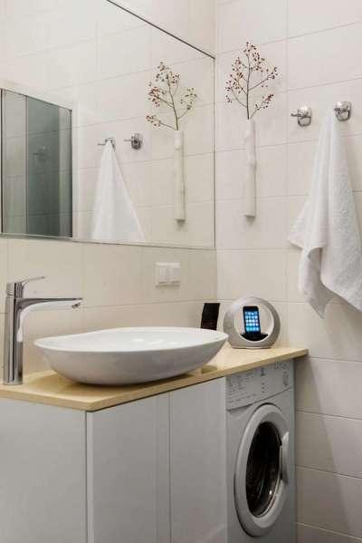раковина со стиральной машиной в ванной