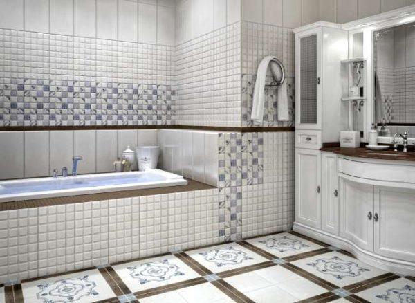 керамическая плитка на полу в ванной комнате