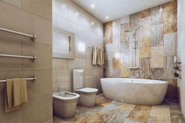 ламинат на полу в ванной комнате
