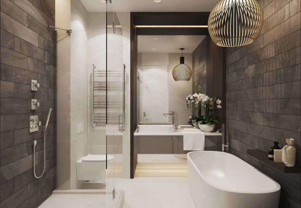 интерьер ванной комнаты с зеркалом
