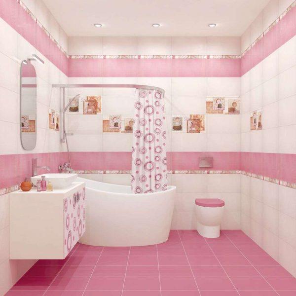 интерьер розовой ванной с туалетом