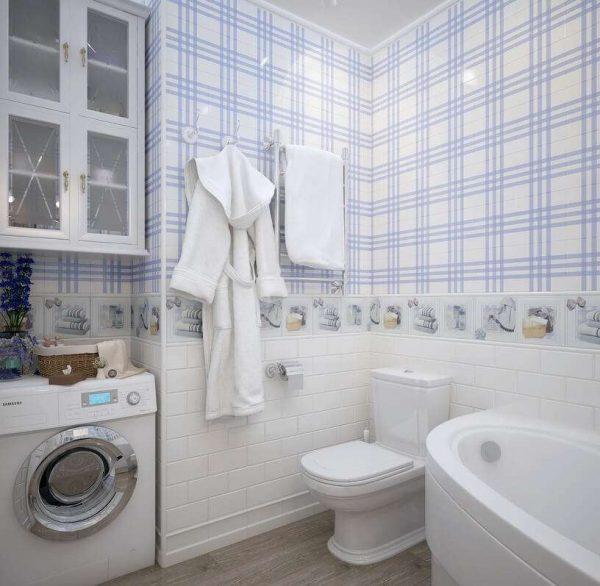 панели в интерьере ванной комнаты с туалетом