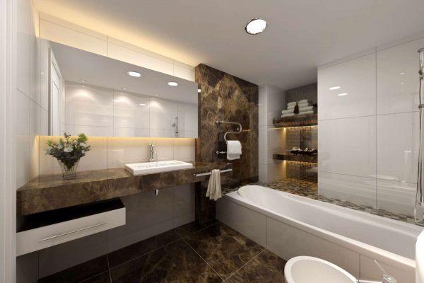 функциональный интерьер ванной с унитазом