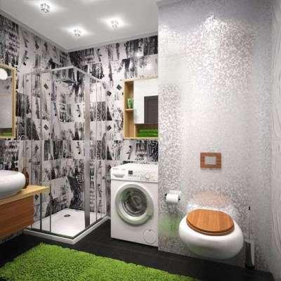 стильный интерьер ванной с туалетом