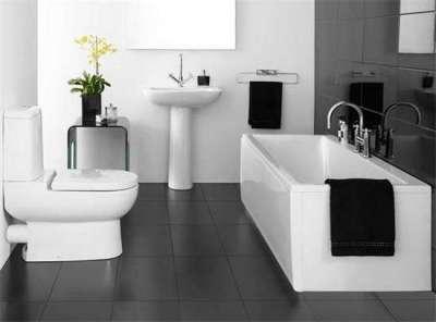 интерьер ванной в стиле минимализм с туалетом