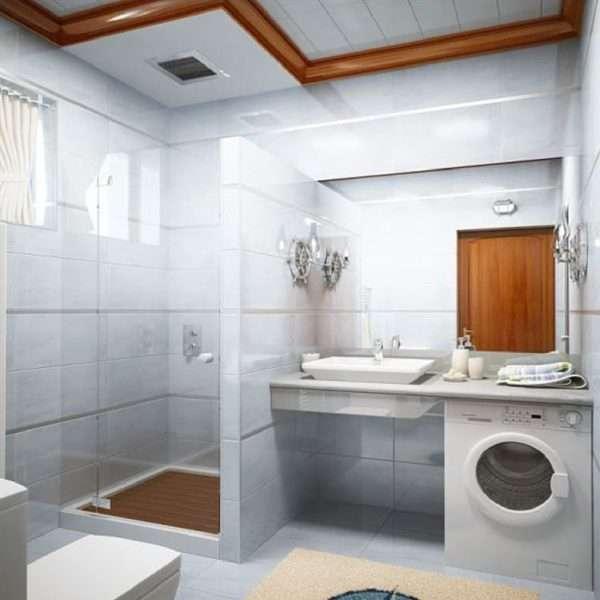 душевая кабина в интерьере ванной с туалетом
