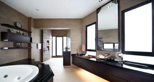 дизайн ванной с зеркалом