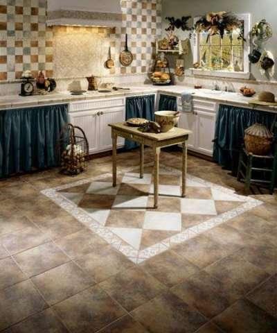 плитка в интерьере кухни прованс