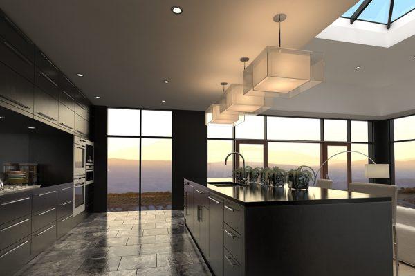 панорамные окна на кухне в частном доме