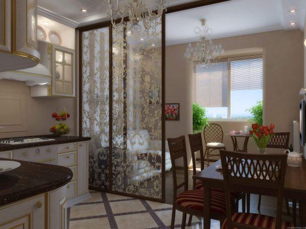 частный дом со стеклянной перегородкой на кухне