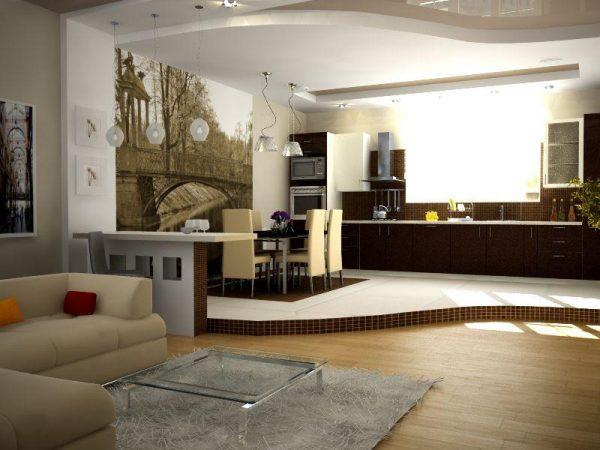 многоуровневый потолок и подиум на кухне