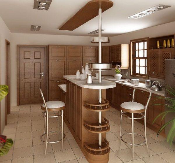 барная стойка в интерьере кухни гостиной