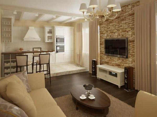 зонирование кухни гостиной в частном доме