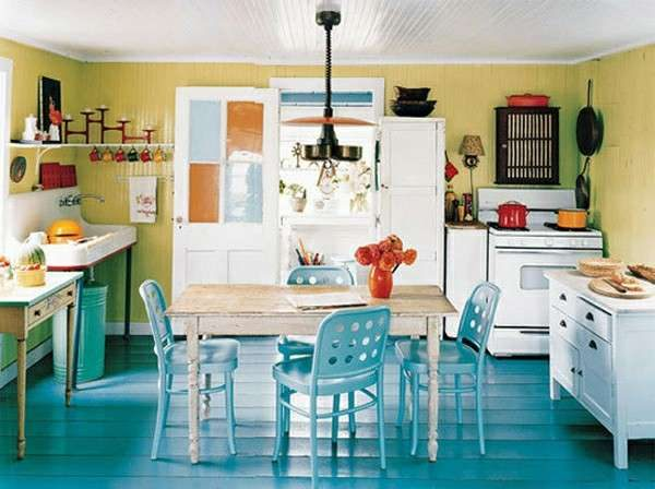 бирюзовый пол на кухне