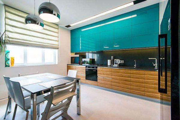 бирюзовая кухня в стиле минимализм