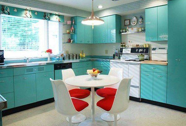 бирюзовая кухня в стиле хай тек