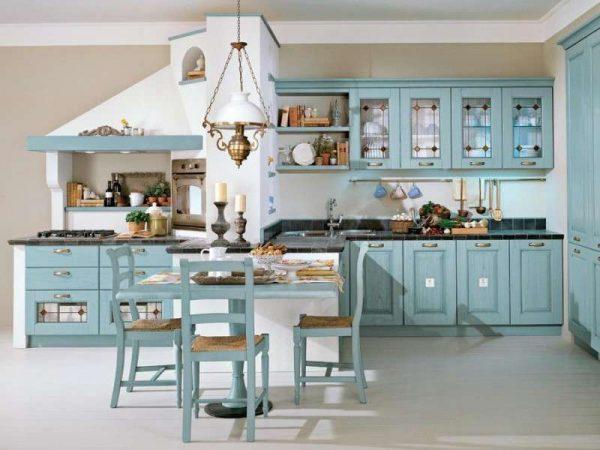 бирюзовая кухня в классическом стиле