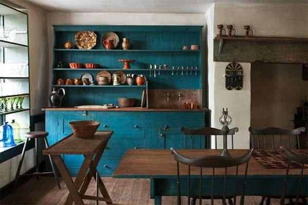 бирюзовая кухня в стиле кантри