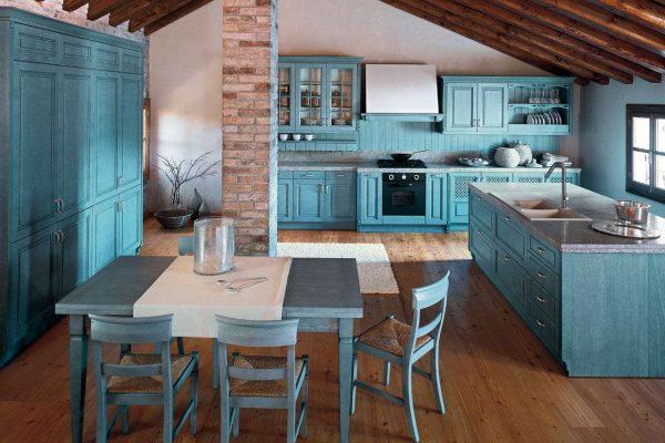бирюзовая кухня в стиле прованс