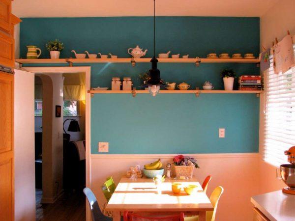 бирюзовые стены на кухне