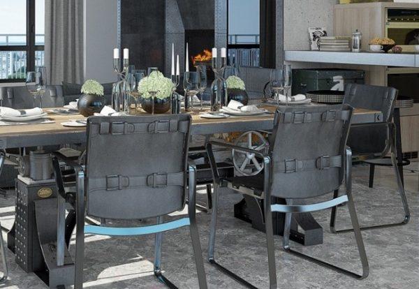 серый прямоугольный стол лофт