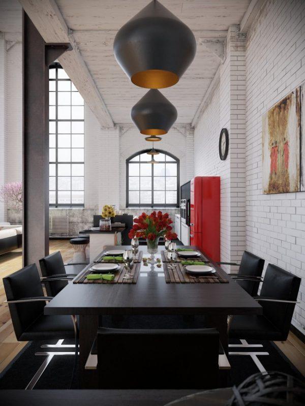 обеденный стол на кухне лофт