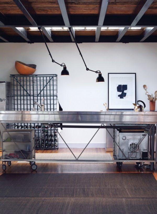 освещение рабочей зоны лофт кухни