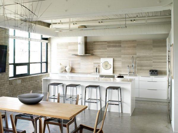 светлый лофт интерьер кухни