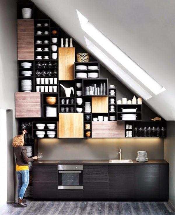 стильный шкаф для посуды на кухне лофт