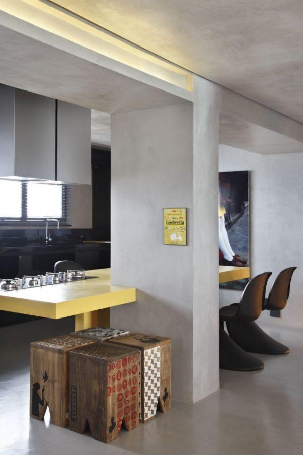 жёлтая столешница на кухне в стиле лофт