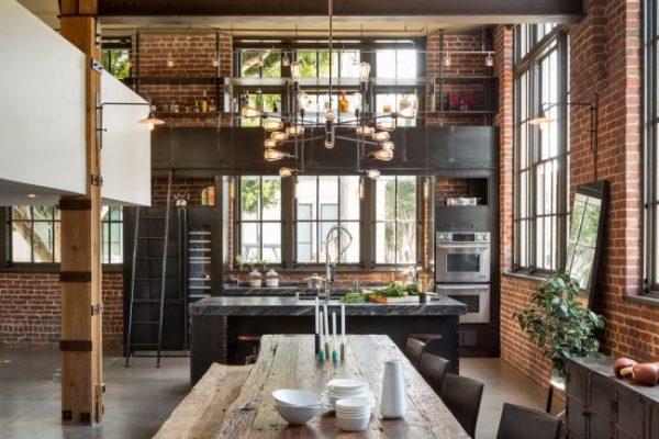 стены с кирпичной кладкой лофт на кухне