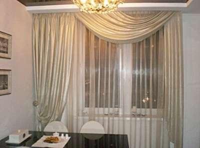шторы мягким ламбрекеном для кухни